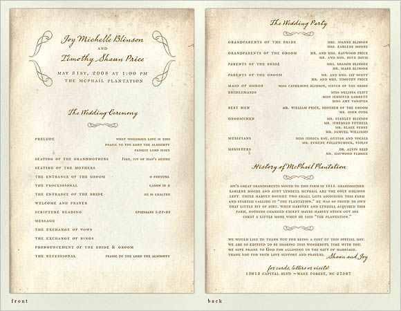 30 Wedding Program Design Ideas To Guide Your Wedding Guests