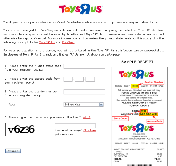 ToysRUs Guest Satisfaction Survey WwwTruSurveysCom