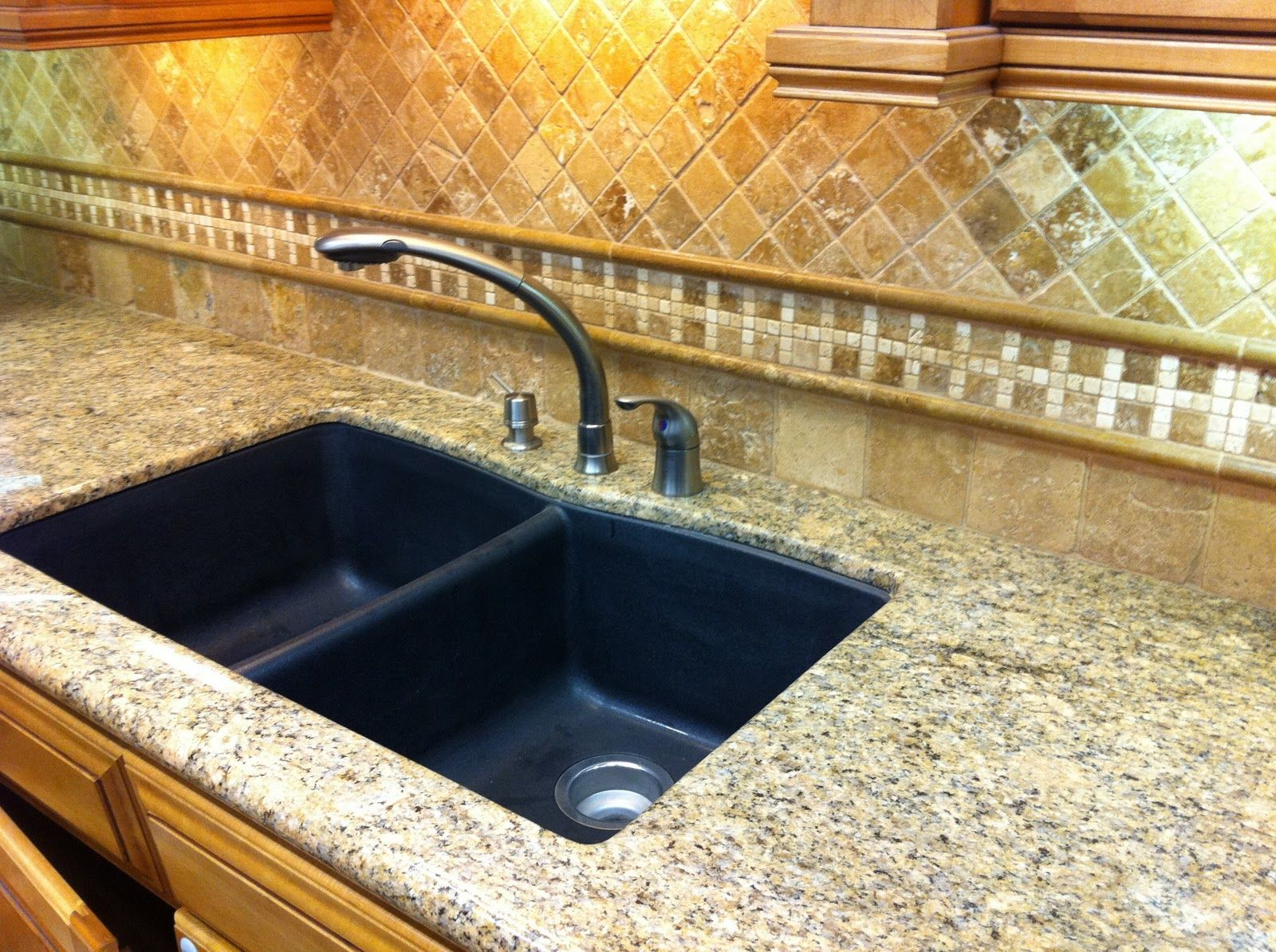 Backsplash ideas for granite countertops gorgeous light brown cream granite tile countertop combined with black double sinks and backsplash wall dailygadgetfo Images