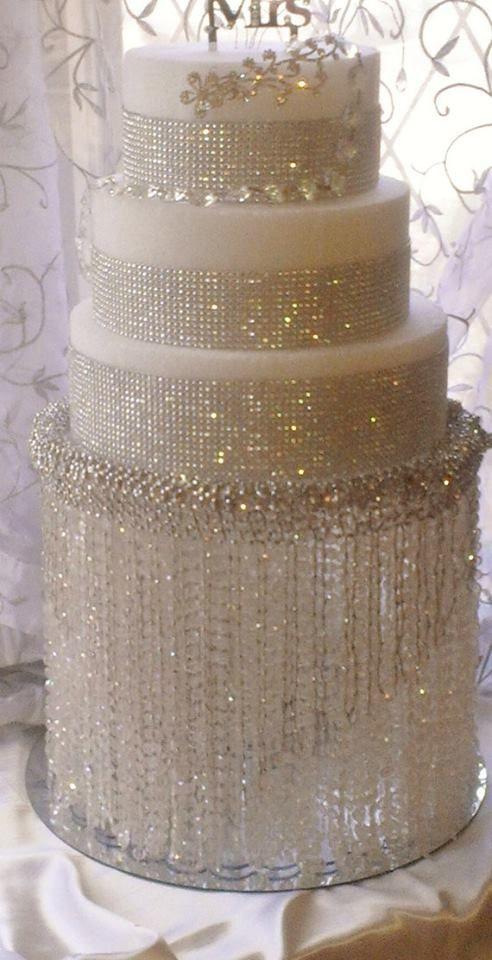 Gorgeous Wedding Cake White Rhinestone Crystal Blinged Out Wedding Cake Weddings Cakes Wedding Inspiration Wedding Cake Stands Waterfall Cake Bling Cakes