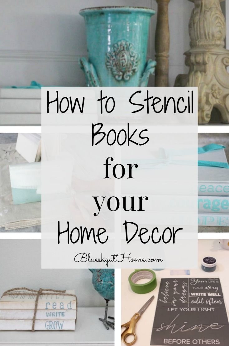 How to Stencil Books for Your Home Decor ~ Bluesky at Home