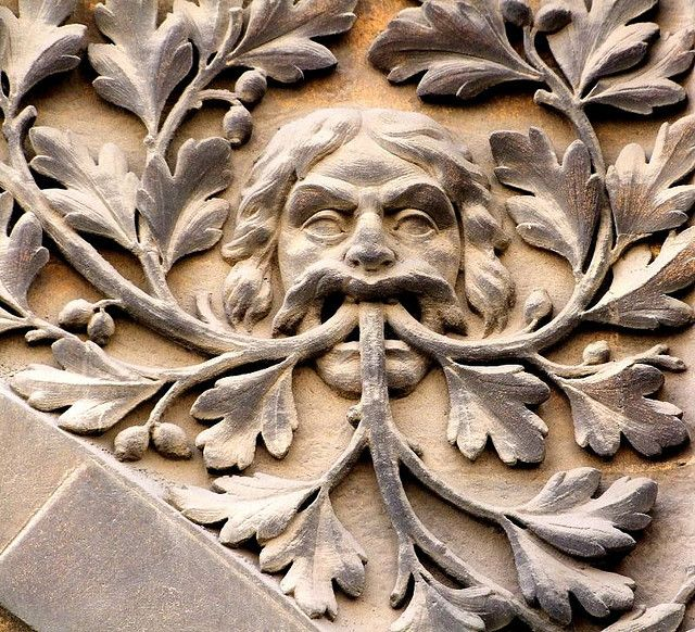 Green Man to be found at the entrance to the museums in Pembroke Street Cambridge