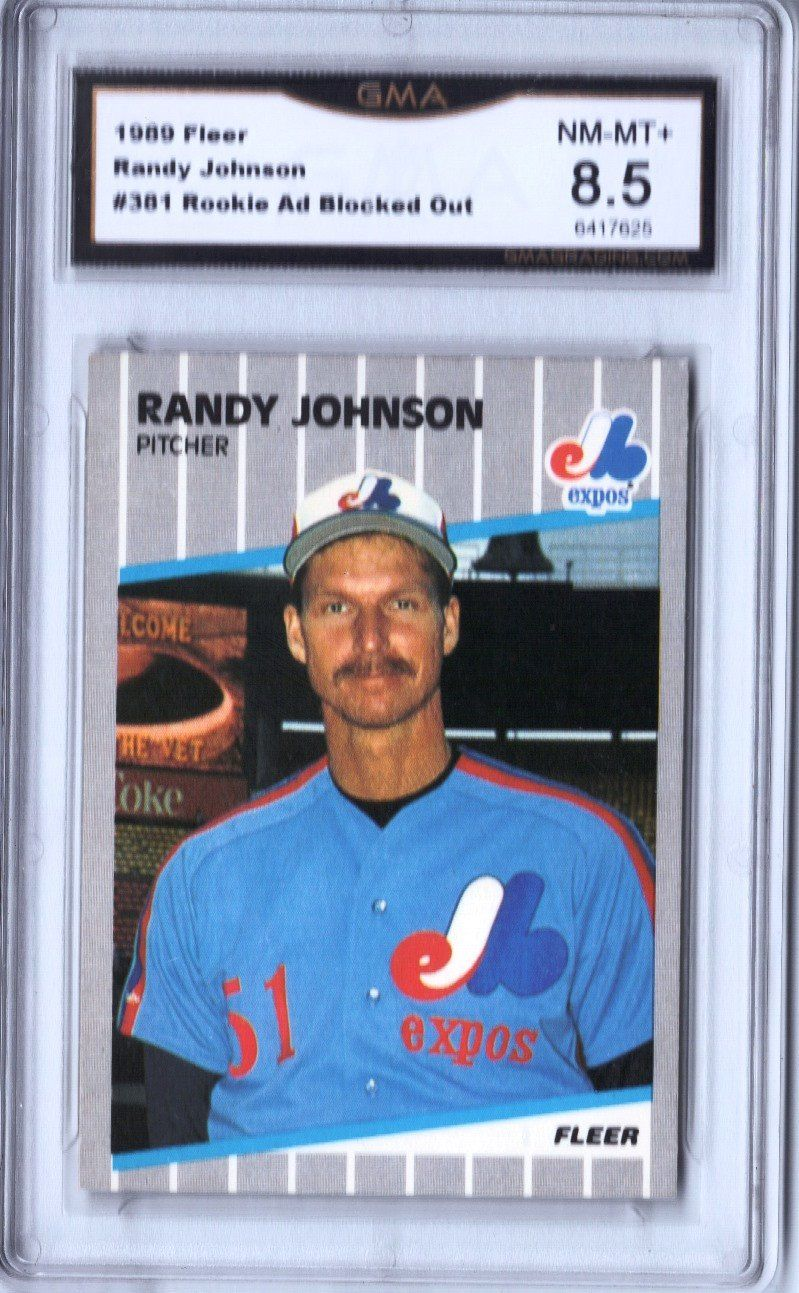 """1989 Fleer 381 Randy Johnson Rookie, """"Ad Blacked Out"""
