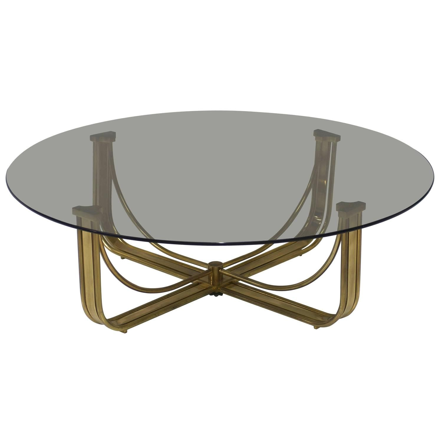 Mastercraft Brass Coffee Table With Round Smoked Grey Glass Top From A Unique Collection Of Antique And Mode Grey Glass Coffee Table Brass Round Coffee Table