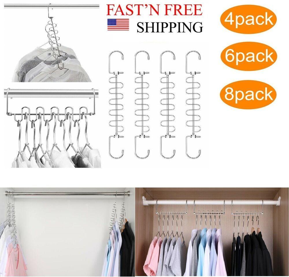 Multi Organizer Closet Cloth Hanger Magic Saving Wardrobe Hangers System 9 5 In Closet Organizer Closet Organization Small Closet Space Space Saving Hangers
