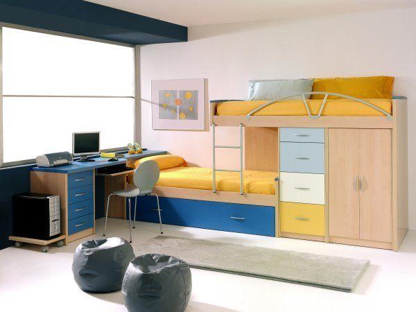 Camas para ni os en melamina con ropero cajonera y escritorio funcionales para espacios - Muebles funcionales para espacios reducidos ...