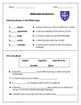 middle ages vocabulary cards middle ages and worksheets. Black Bedroom Furniture Sets. Home Design Ideas