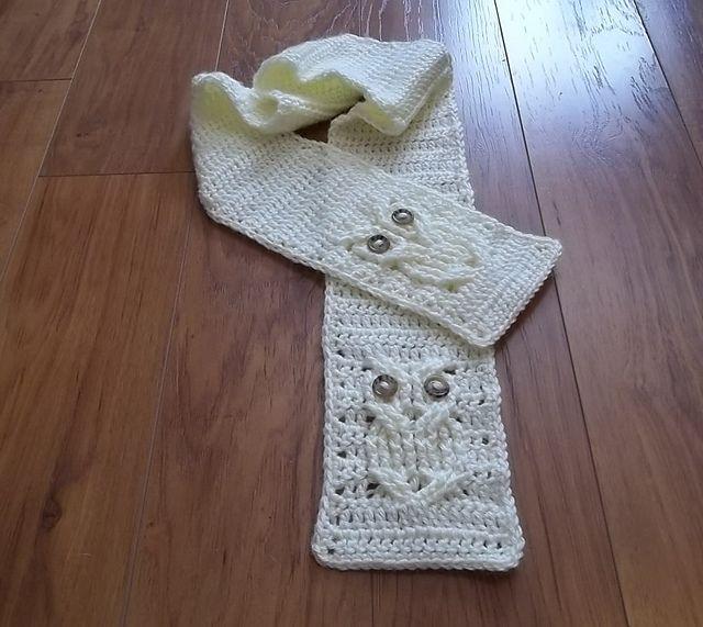 it 39 s a hoot owl scarf pattern by carlinda lewis eule schals und eule stricken. Black Bedroom Furniture Sets. Home Design Ideas