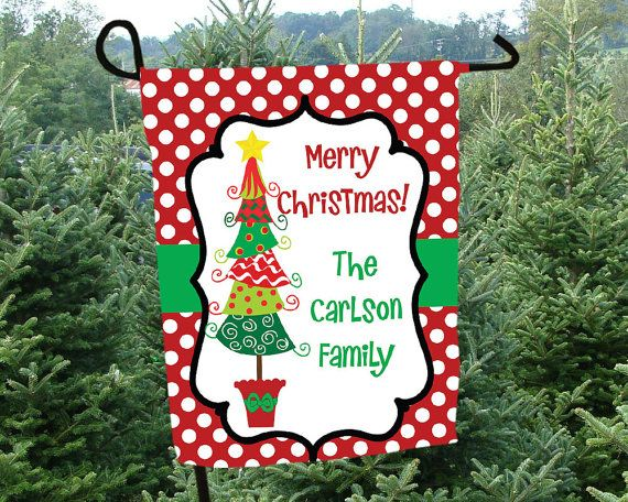 Christmas Garden Flag Personalized Christmas Flag Christmas Outdoor