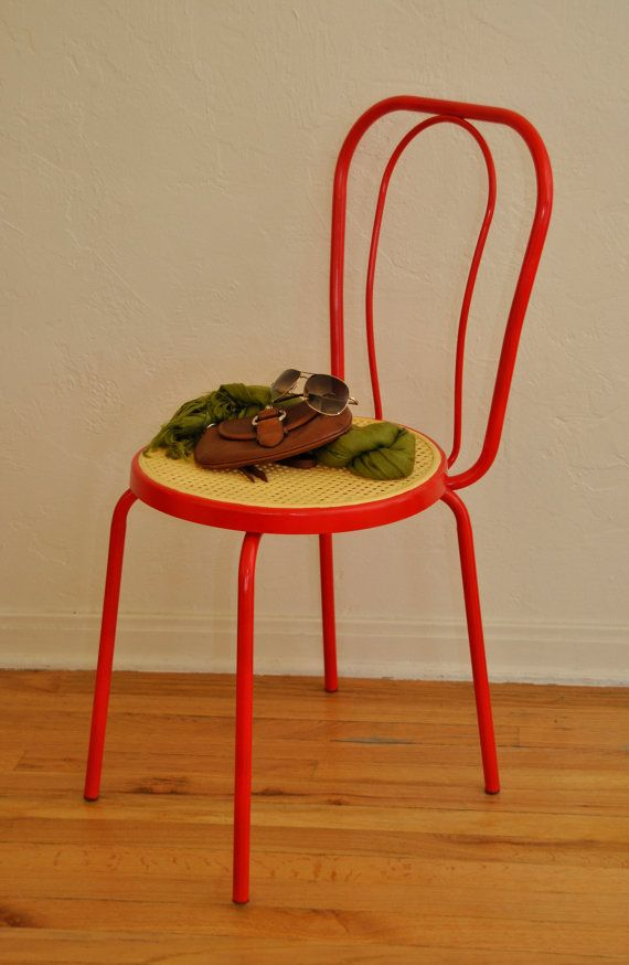 Vintage Red Metal Chair Love Chairs Metal Chairs Chair Und Love