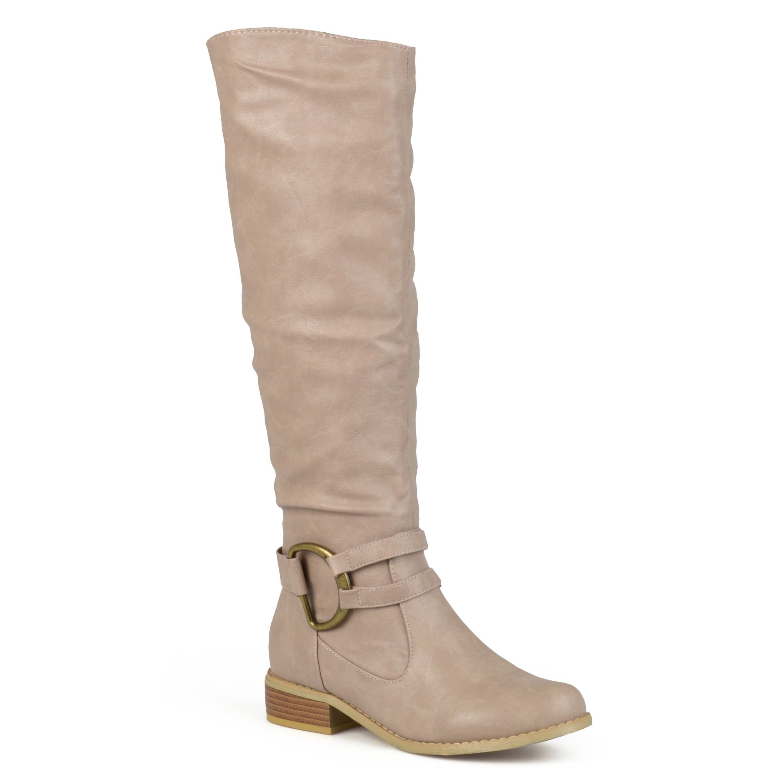 dc99058125f0 Journee Collection Women s  Charming-01  Regular and Wide-calf Knee-high Riding  Boot (Stone- 9.5 Wide Calf)