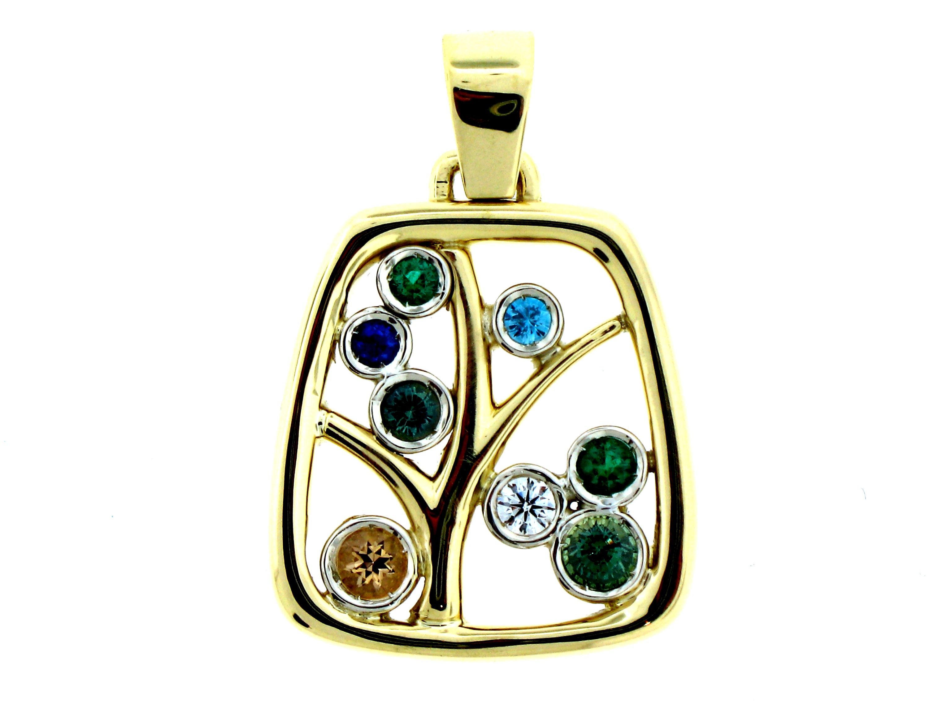 Custom designed and crafted k yellow gold modern square family