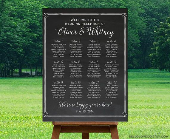 Printable wedding seating chart reception sign with chalkboard background find your seat personalized also rh pinterest