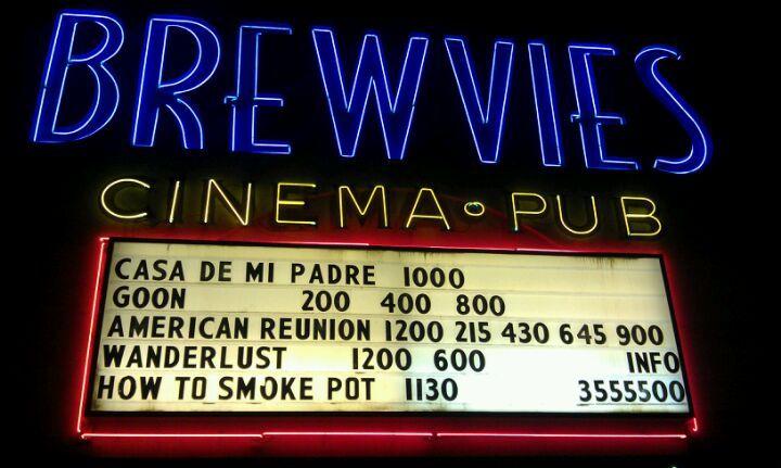 Brewvies cinema pub pub cinema neon signs