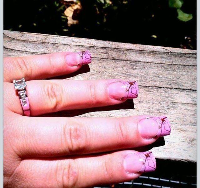 realtree pink camo nails and diamond