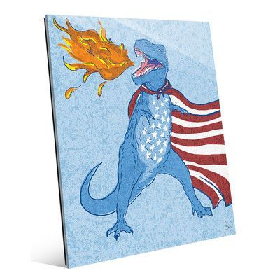 "Click Wall Art 'Freedom Dino' Graphic Art Plaque , Size: 24"" H x 20"" W x 1"" D"