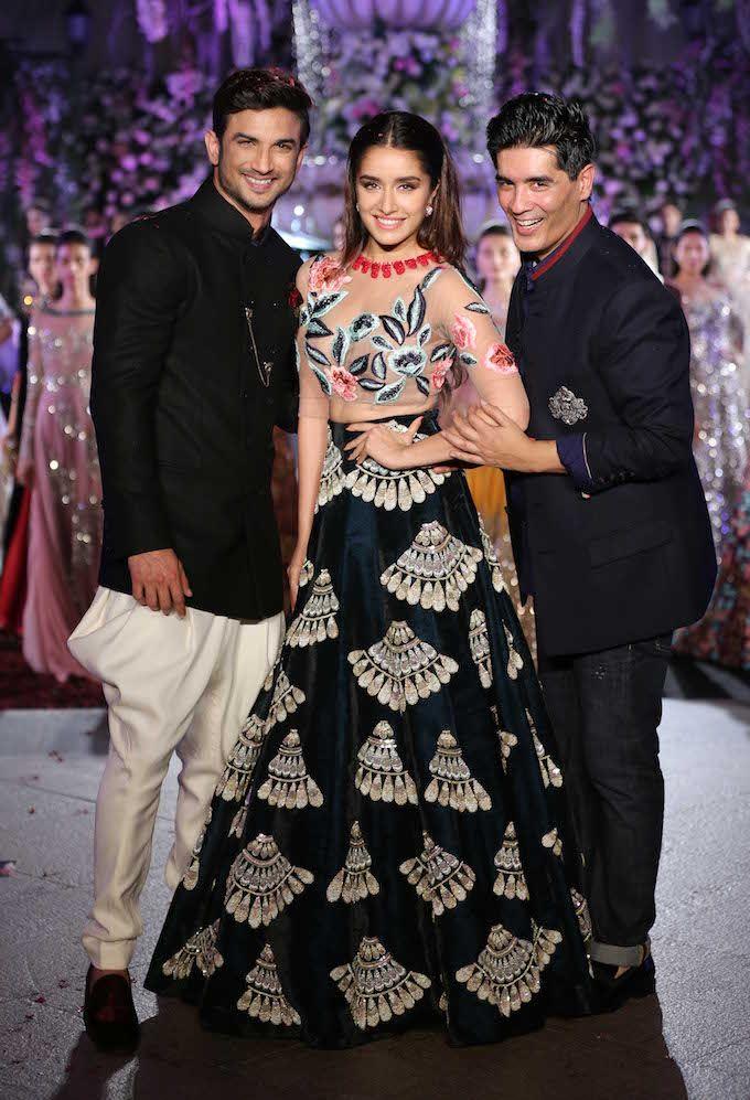 793579aead Sushant Singh Rajput and Shraddha Kapoor with Manish Malhotra at Lakme  Fashion…
