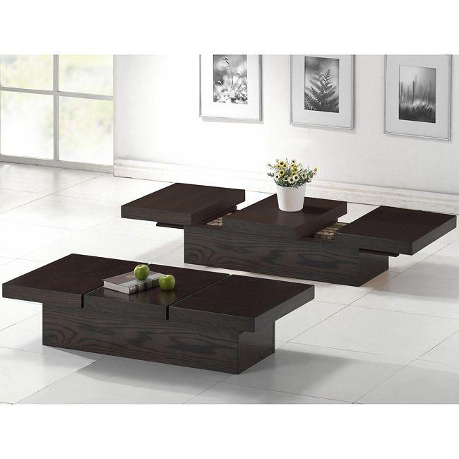 Modern Dark Brown Wood Veneer Living Room Coffee Table with Hidden Storage #Modern