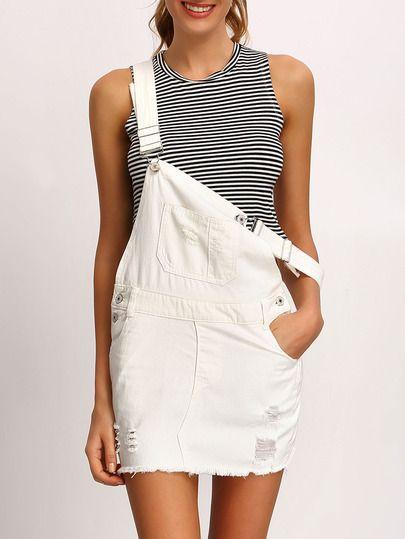 bb1e656fb92408 Jupe salopette en denim avec poche -blanc | Mode ♡ en 2019 ...