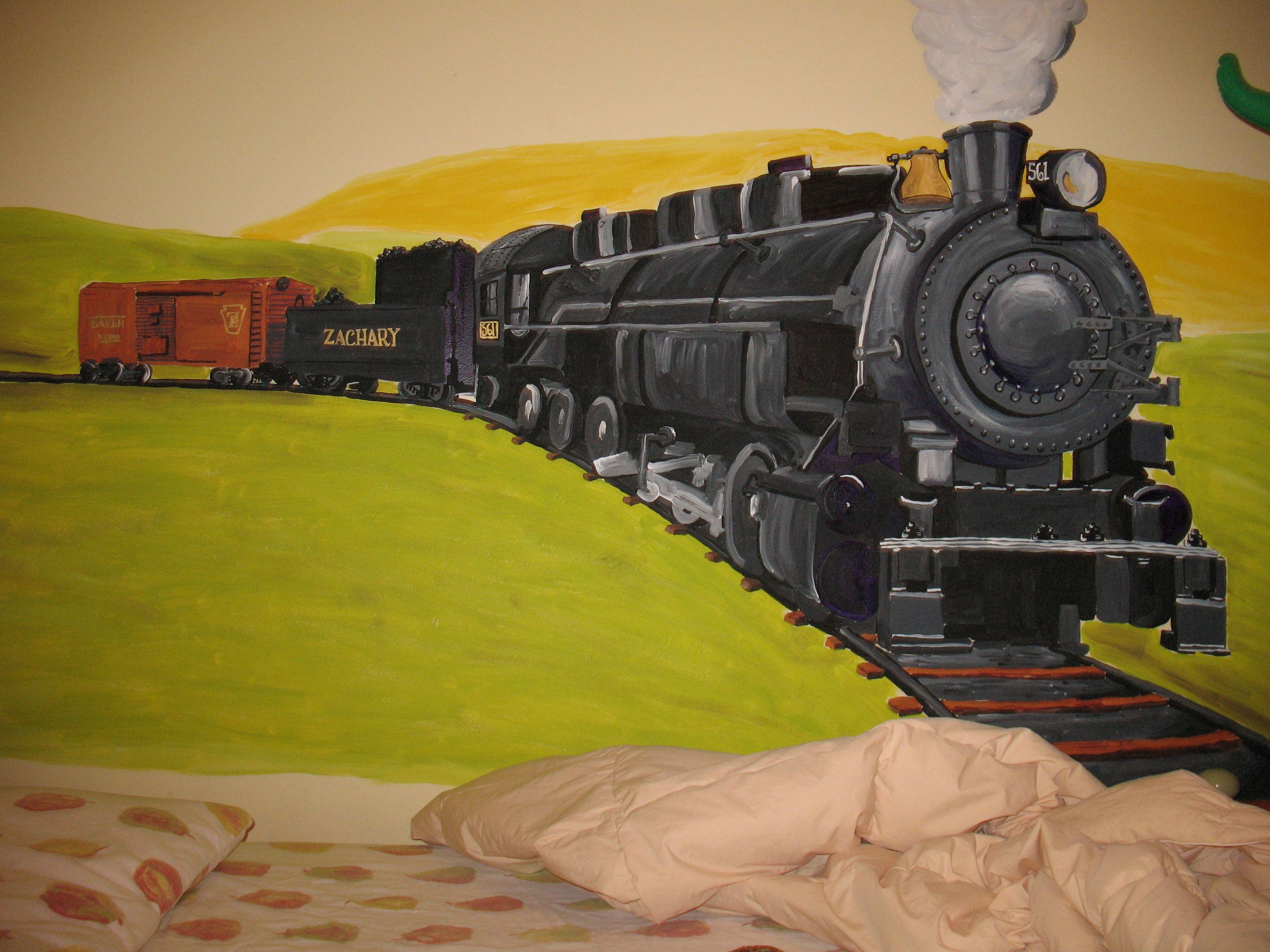 Train mural painted from a photograph of a toy, model train. A 3 ...