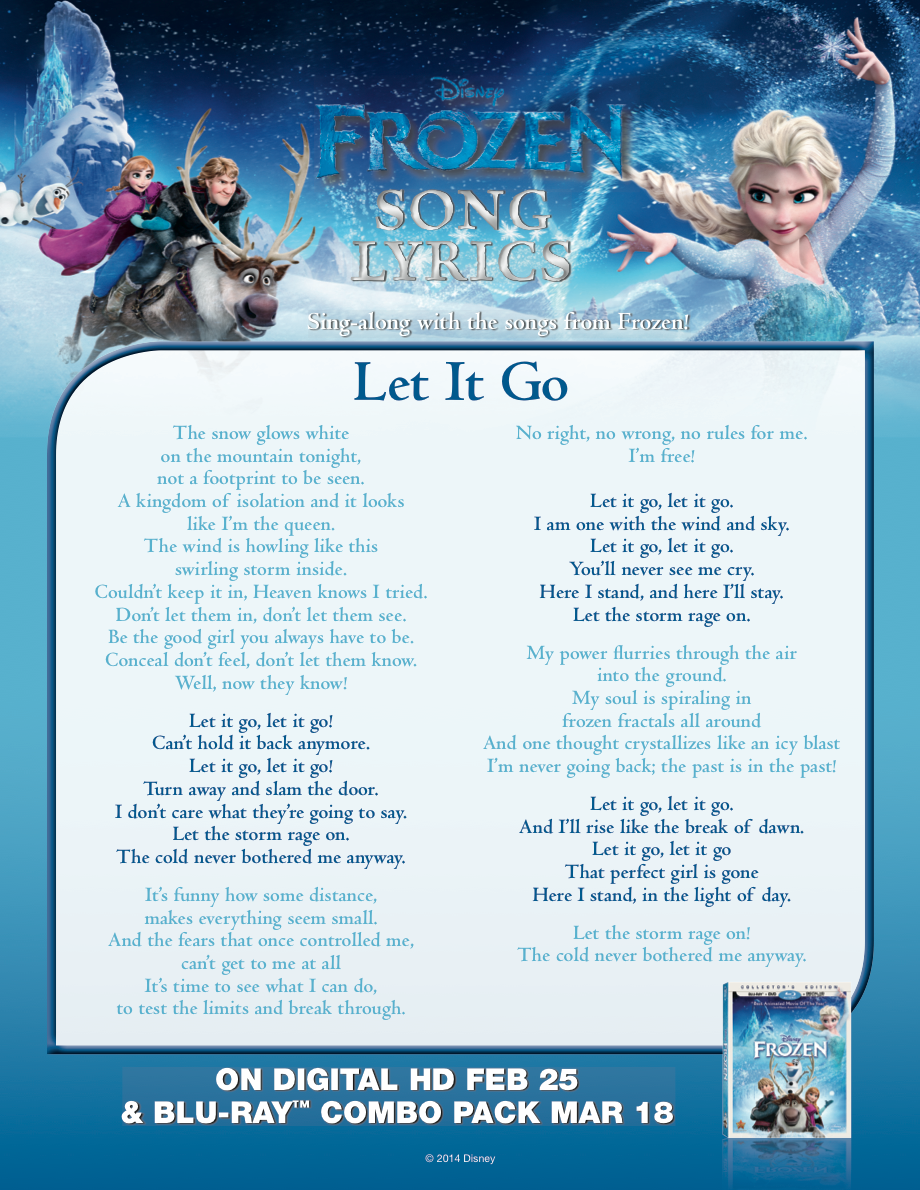 Sing Let It Go With This Lyric Sheet Disney Songs Frozen Movie Disney Frozen Party