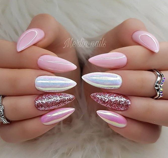 Mix Nail Design For Almond Shape Are You A Fan Of An Nails To Tell The Truth We Adore How Feminine And Soft This N