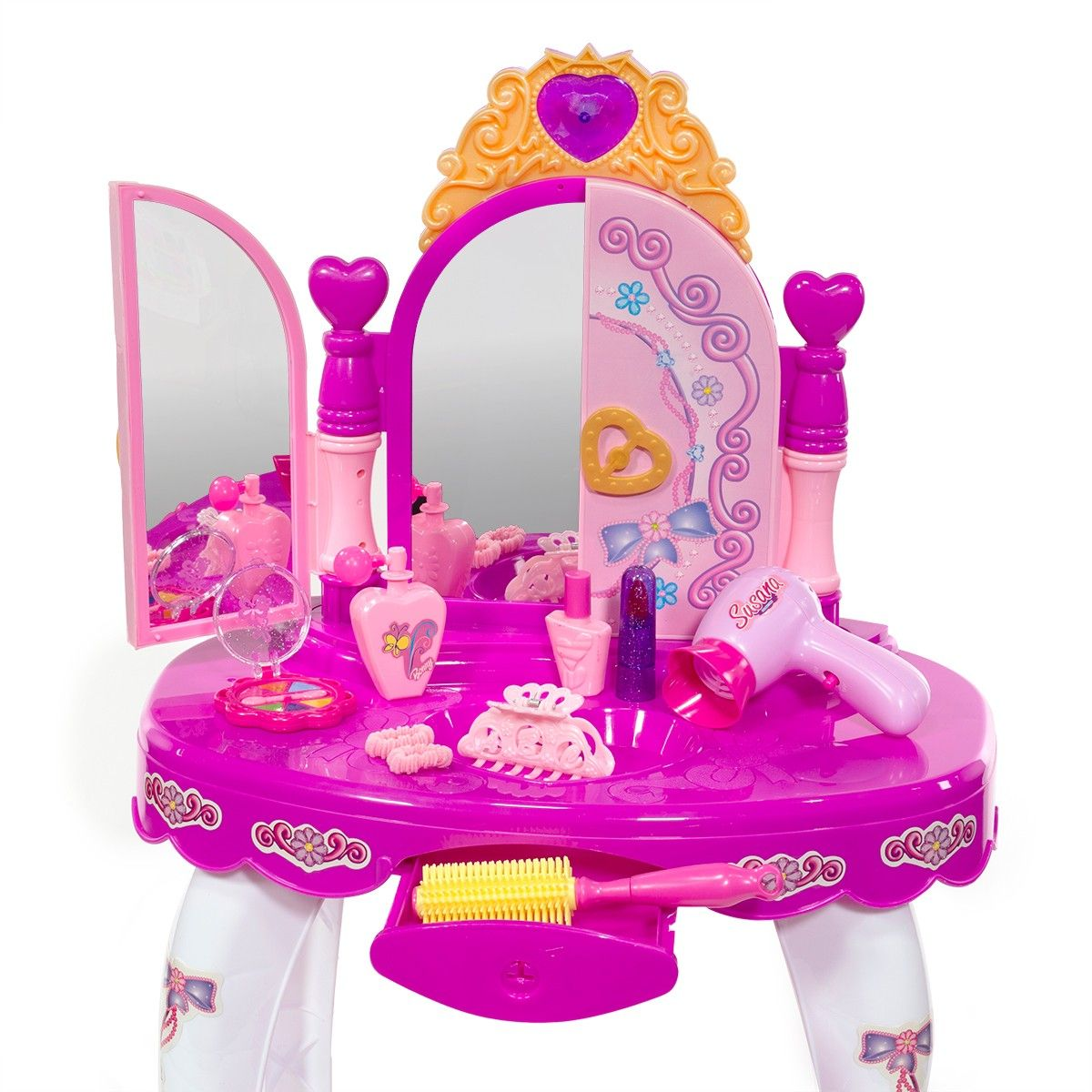 Ihubdeal Little Princess Lights And Sound Makeup Vanity Table 9 Piece With Stool Pretend Makeup And Hair Accessories Gift Walmart Com Kids Makeup Vanity Pretend Makeup Makeup Vanity
