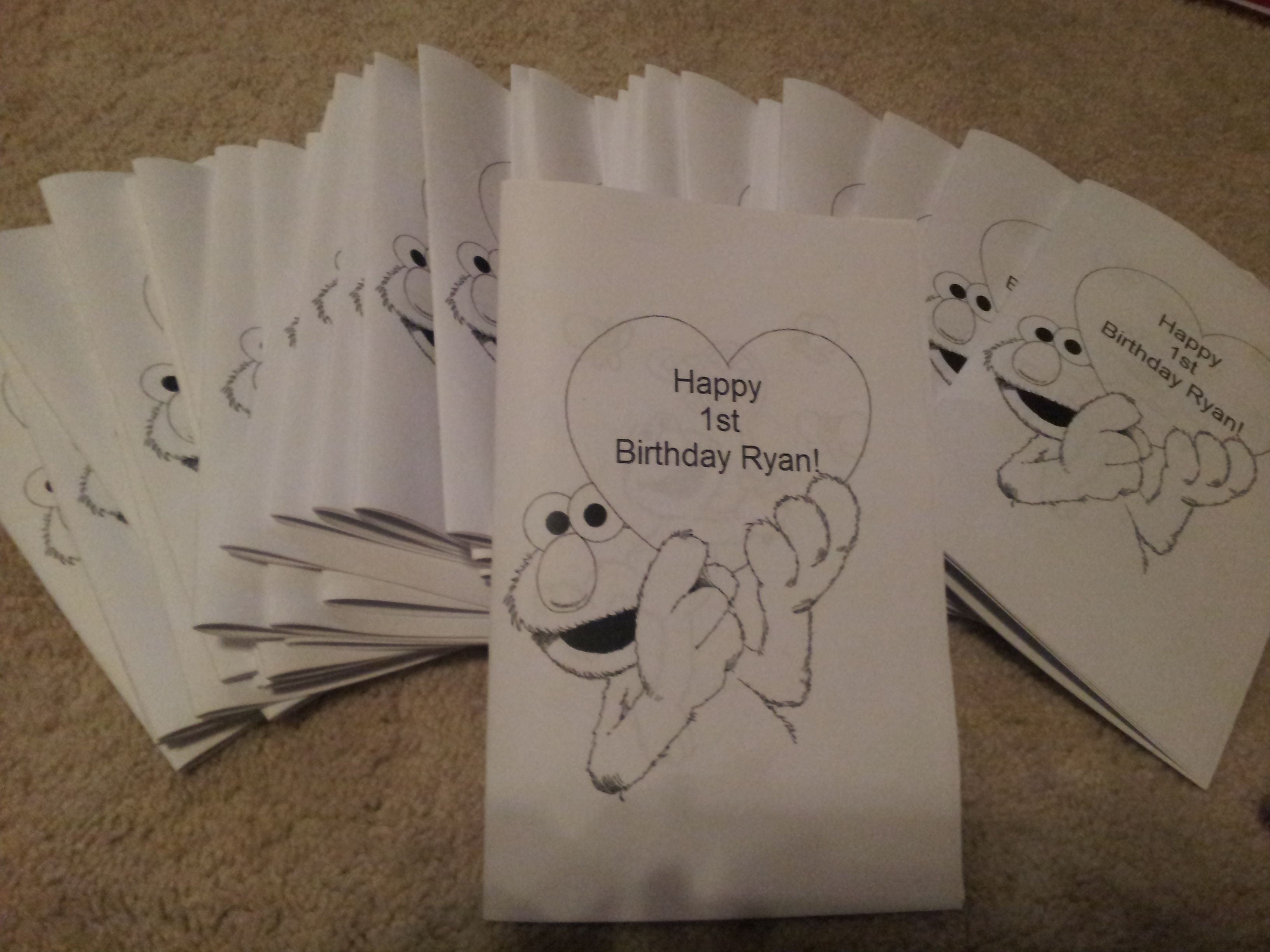 Created A Color Book For The Goodie Bag Collection Of Free Color Pages From Online Used Ms Word With T Elmo Birthday Party Elmo Birthday Happy First Birthday