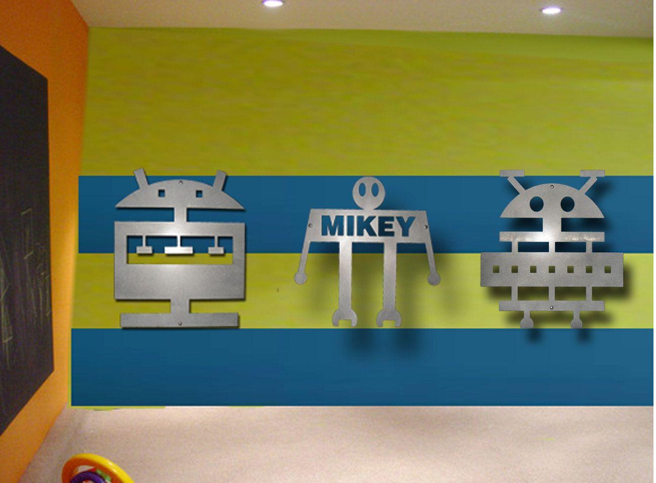 "Robot, Kids Art, Metal Wall Art, Kids Rooms, Childrens Wall Art (3) Robots  ""Bobot ""CEE"" ""Bobot ""NEE"" & Bobot  ""DEE"". $210.00, via Etsy."