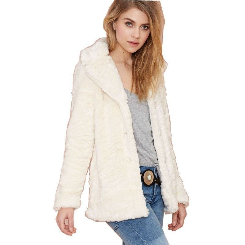 Ladies Winter Fur Jacket With Turn Down Collar
