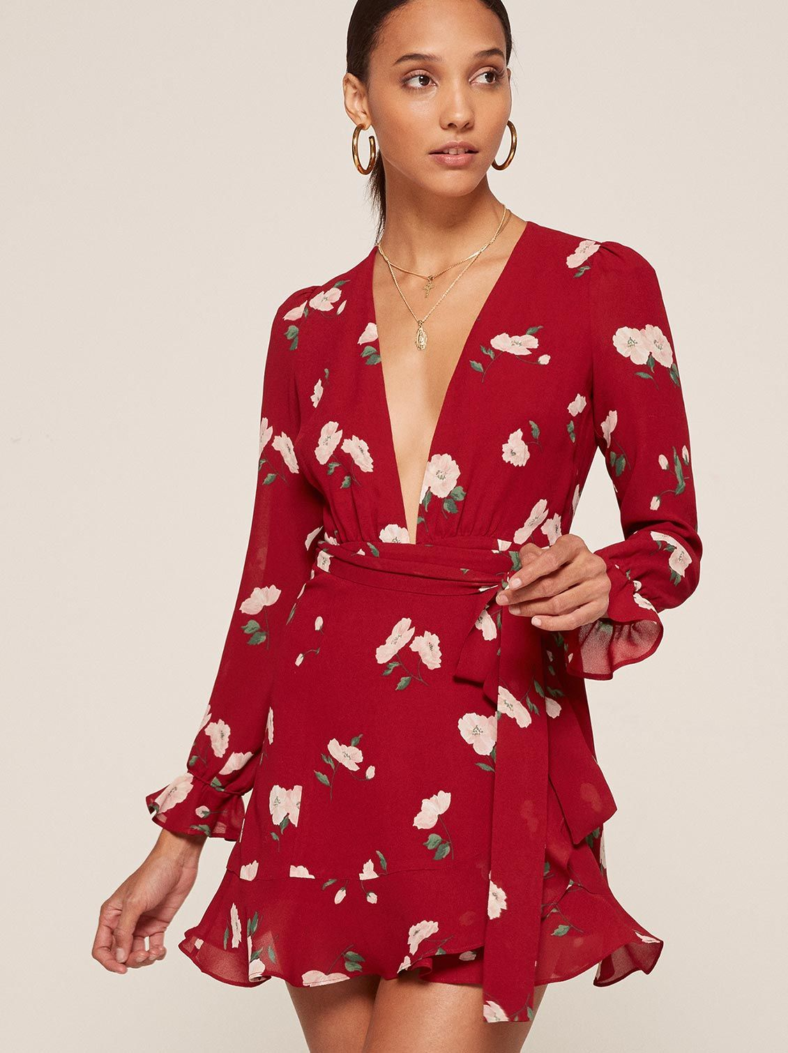 83495d53601 Whitby red floral deep v neck dress Reformation