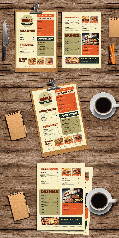 retro diner food menu template ai psd best food menu templates