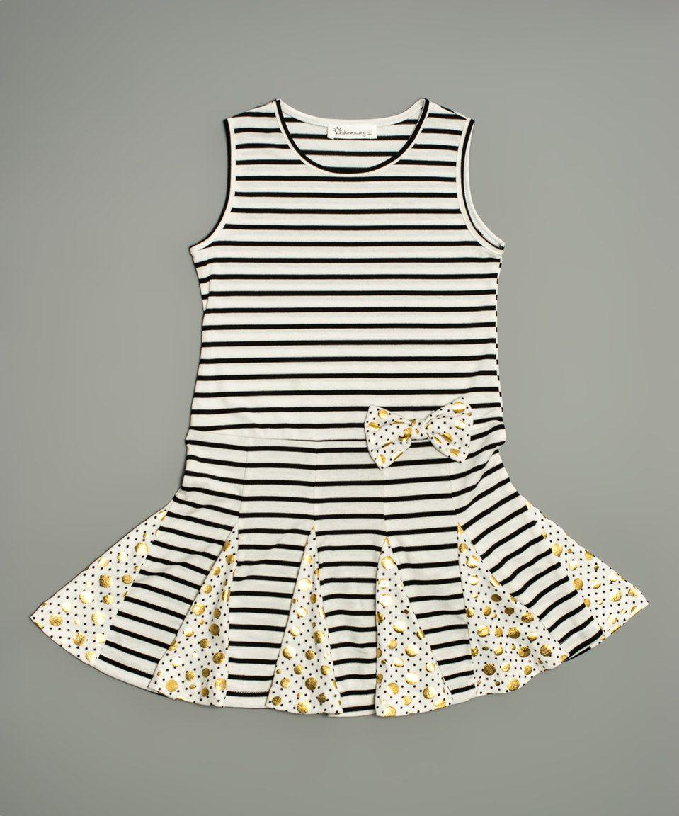 This Black & White Stripe Bow Dress - Toddler & Girls by Sunshine Swing is perfect! #zulilyfinds @maryandlizzy
