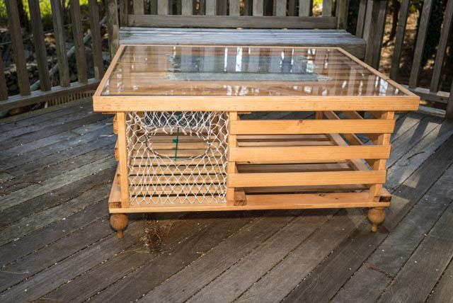 Lobster Trap Coffee Table Finished Home Pinterest Lobster Trap Plexi Glass And Coffee