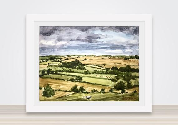 English Countryside Watercolor Painting Farm Land Watercolor Paintings Landscape Paintings Rural Landscape
