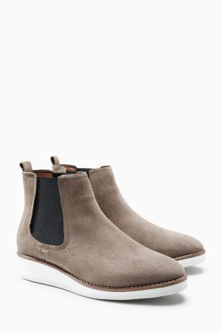 Mink Sporty Chelsea Boots   Leather