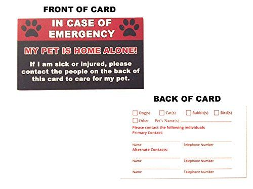Pet Emergency Care Card 2 Pack My Pet Is Home Alone Alert In Case Of Emergencies Dog Cat Safety Wallet Cards Emergency Care In Case Of Emergency Dog Training Pads