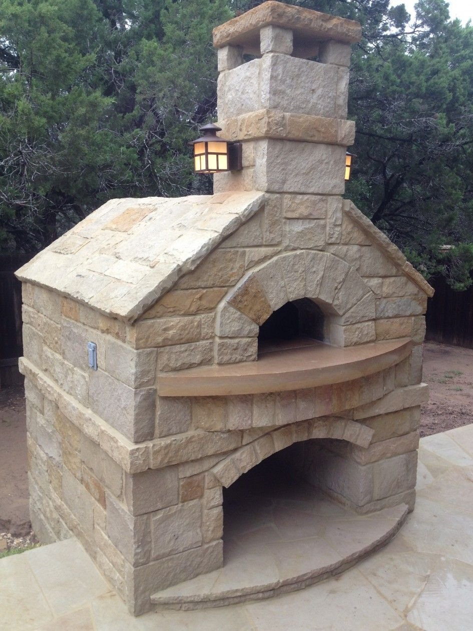 exterior interesting white stacked stone custom outdoor pizza