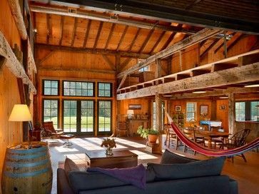 Farmhouse Exposed Structure And Spiral Ductwork Design Ideas Magnificent Living Room Hammock Decorating Design