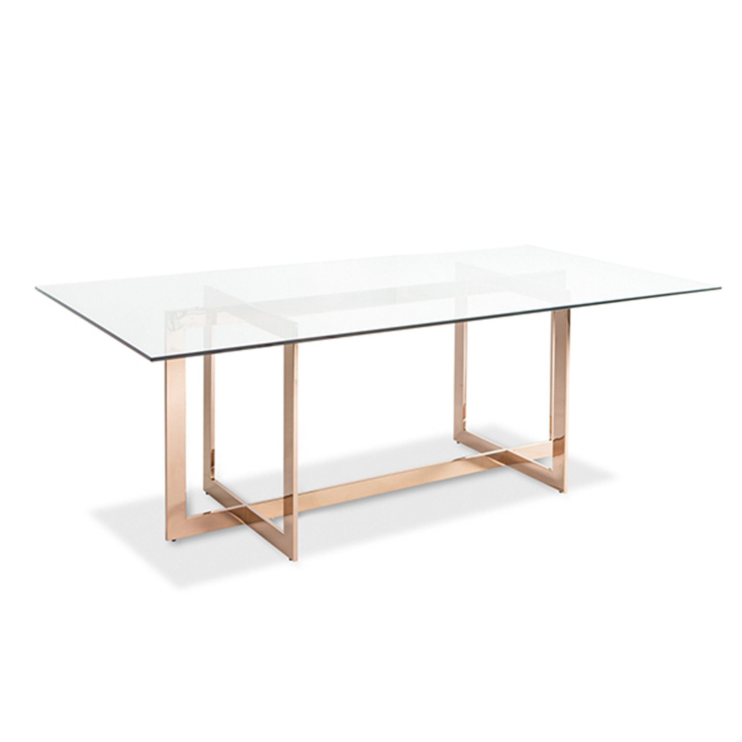 Carmelina Dining Table Rose Gold Modern Glass Dining Table Modern Dining Table Glass Top Dining Table