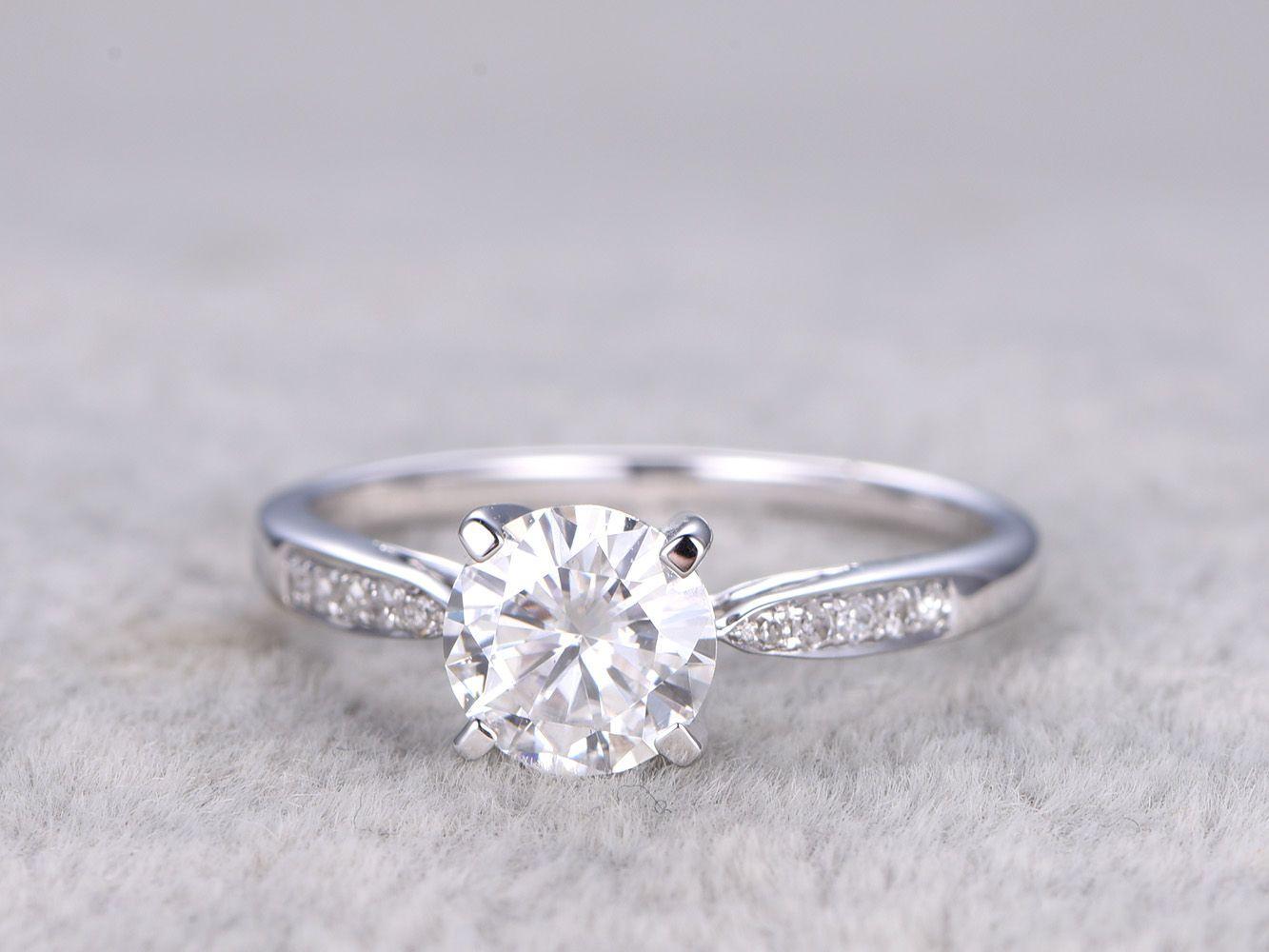 Brilliant moissanite engagement ring white golddiamond wedding band