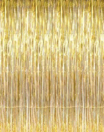 Amazon Com 3 X 8 Gold Tinsel Foil Fringe Door Window Curtain