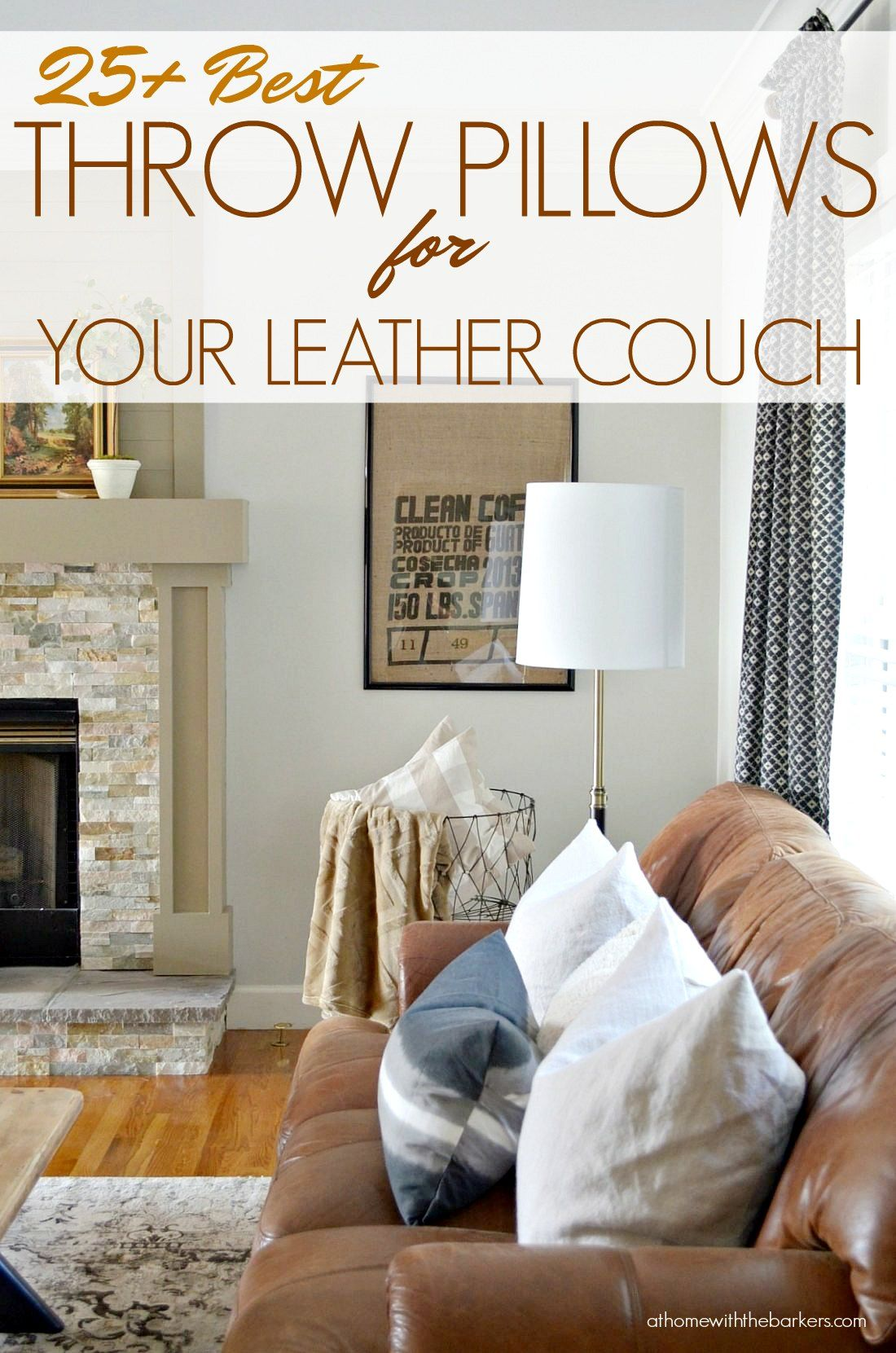 Best Throw Pillows For Leather Couch At Home With The Barkers Leather Couches Living Room Brown Leather Couch Brown Leather Couch Living Room