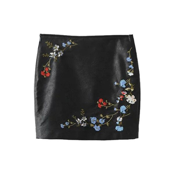 Floral Faux Leather Skirt ❤ liked on Polyvore featuring skirts