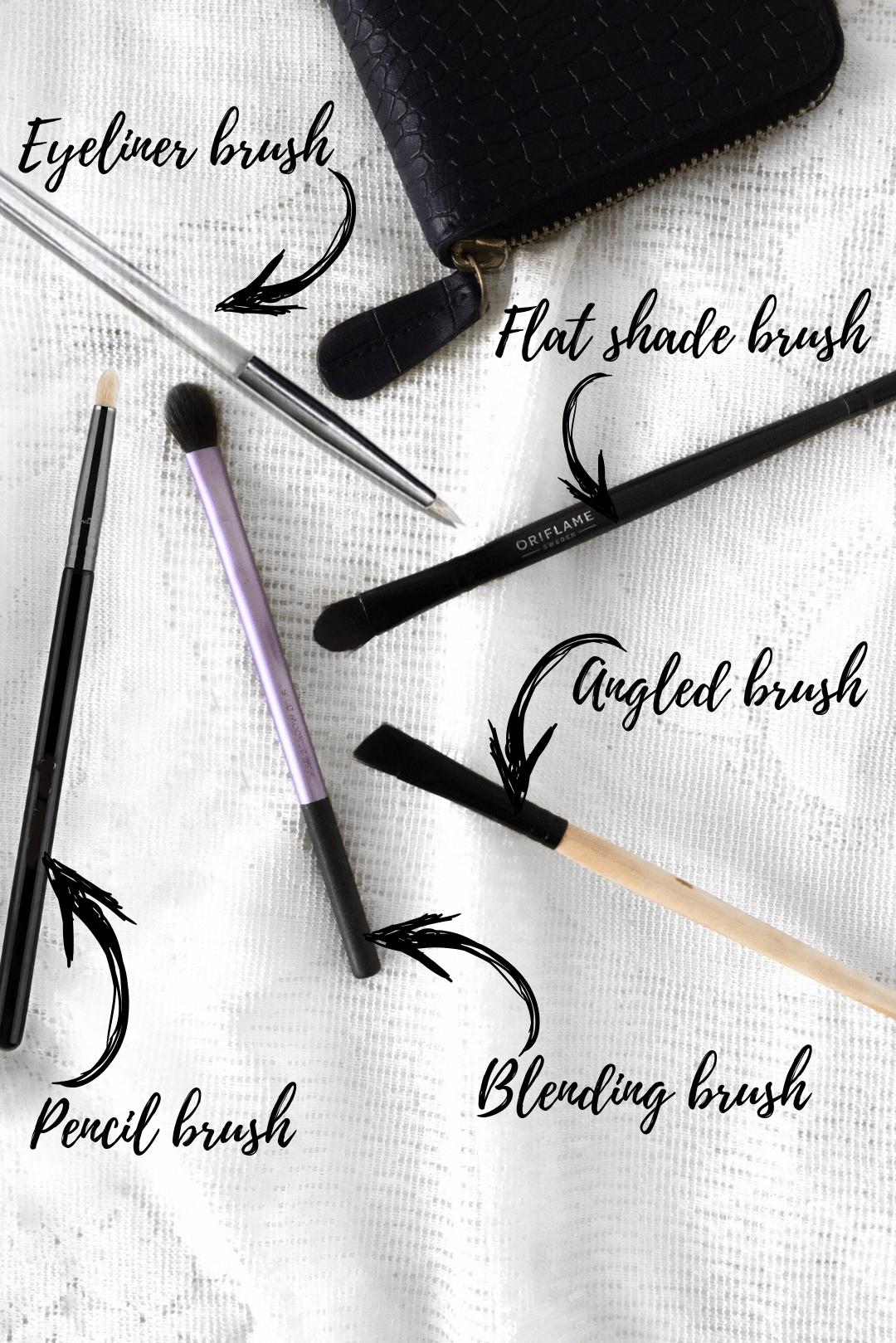 List of Essential eye makeup brushes like eyeshadow