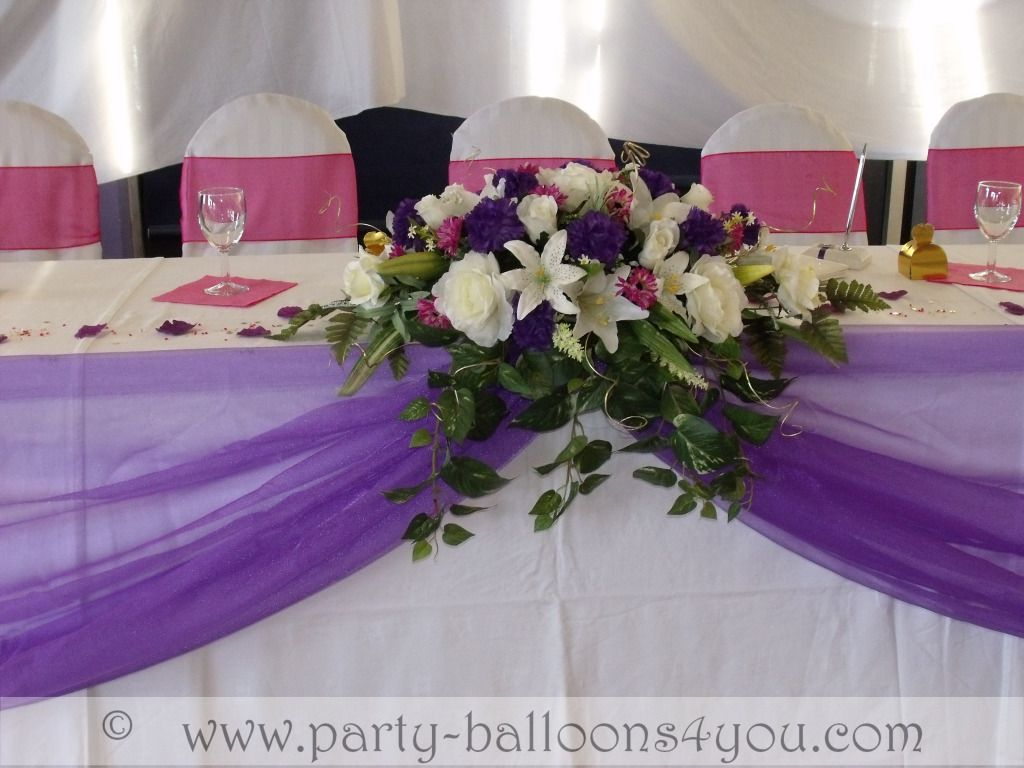 Wedding Table Wedding Table Decorations Hire purple wedding table ideas balloons fresh silk flowers pew end bows chair cover