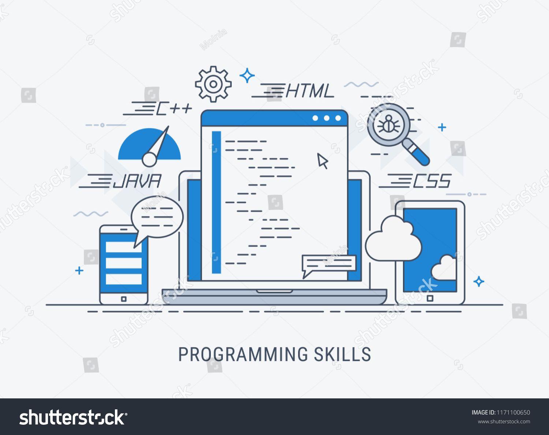 Programming And Coding Skills Development And Debugging Flat Modern Line Art Vector Illustration Ad Ad De Line Art Vector Infographic Templates Skills