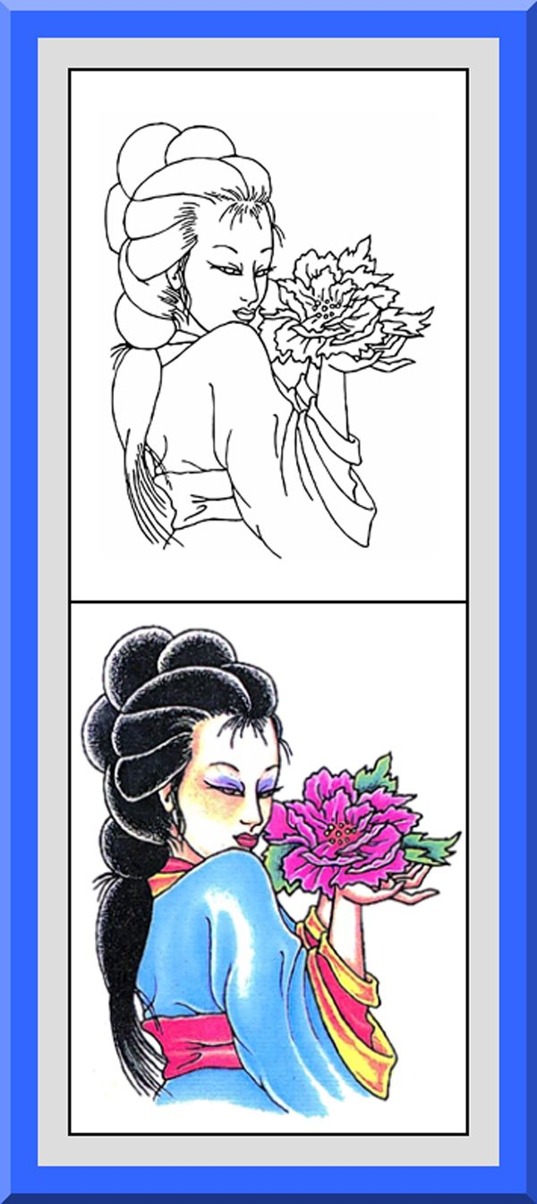 Printable Geisha Coloring Pages 30 High Definition Black Outlines With Colored Examples
