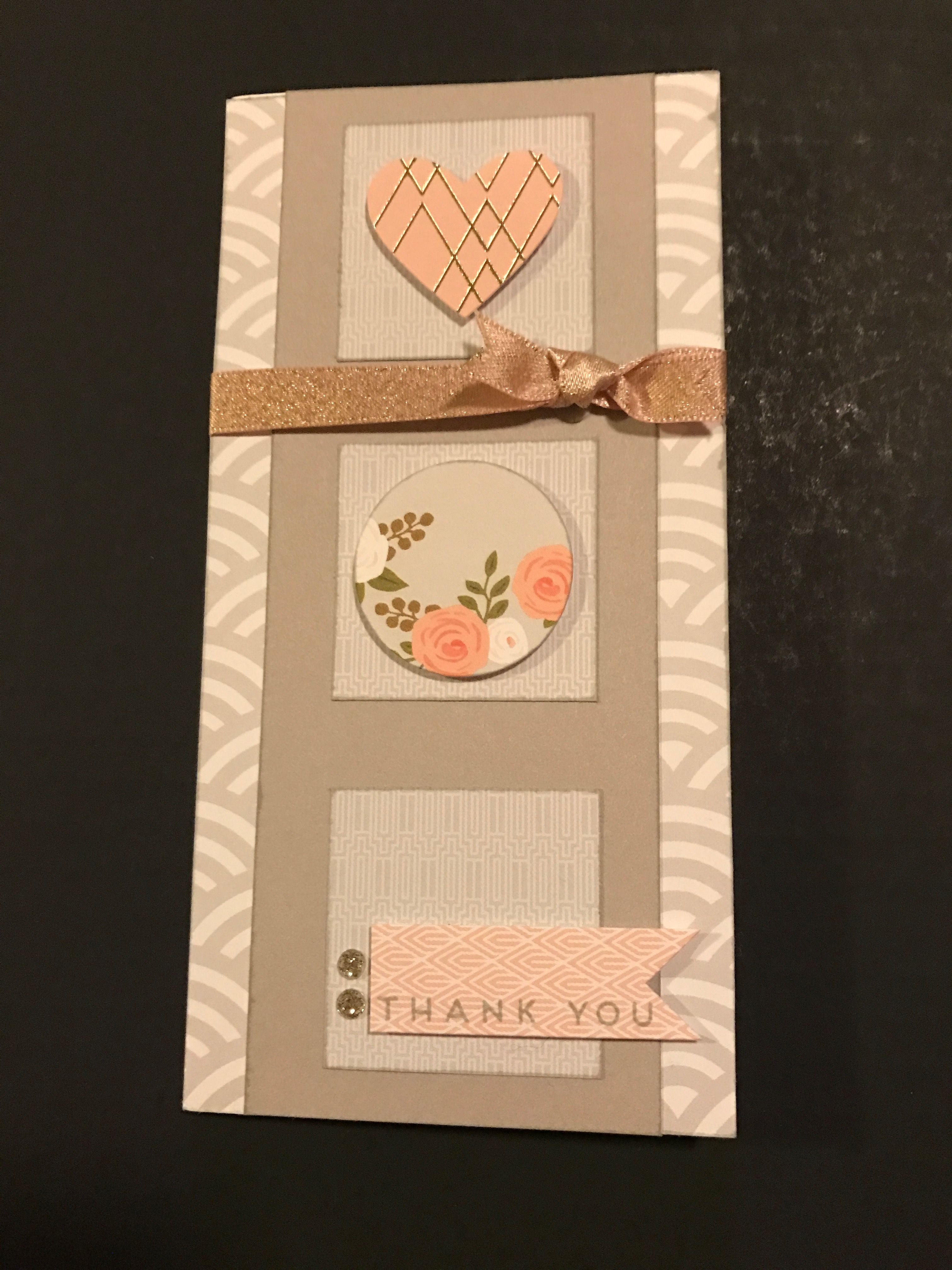 I just couldn't resist sticking to the pinks, greys & gold for this weeks Color Dare using the palette from Hello Lovely. Don't you just LOVE all the yummy complements in our WYW kits? To finish the card I added some Blush shimmer ribbon, some Gold glitter gems & stamped THANK YOU  in Whisper.