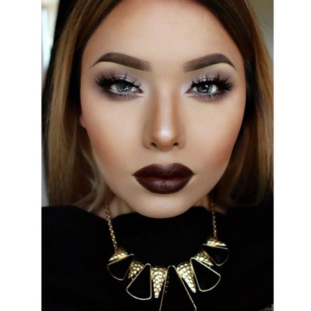 20 Eye-Catching Fall Make-Up Trends | Simple style, Dark lips and Eyes